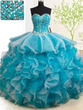 Captivating With Train Ball Gowns Sleeveless Teal Vestidos de Quinceanera Brush Train Lace Up