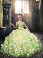 Spaghetti Straps Sleeveless Lace Up Flower Girl Dresses for Less Yellow Green Organza