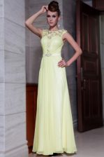 Scoop Cap Sleeves Beading and Hand Made Flower Zipper Prom Gown