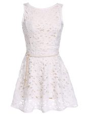 Scoop White A-line Lace and Belt Zipper Lace Sleeveless Mini Length