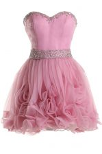 Pink Organza Zipper Prom Party Dress Sleeveless Knee Length Beading