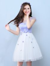 Adorable White V-neck Neckline Appliques Dama Dress for Quinceanera Cap Sleeves Lace Up