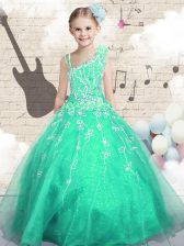 Asymmetric Sleeveless Little Girls Pageant Gowns Floor Length Appliques Apple Green Tulle