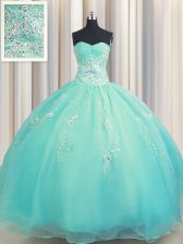 Custom Designed Zipper Up Aqua Blue Sleeveless Beading and Appliques Floor Length Quinceanera Dresses