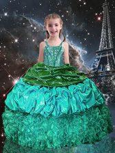 Best Floor Length Green Little Girls Pageant Dress Spaghetti Straps Sleeveless Lace Up