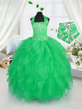 Halter Top Appliques and Ruffles Kids Formal Wear Apple Green Lace Up Sleeveless Floor Length
