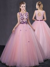 Traditional Scoop Sleeveless Floor Length Appliques Lace Up Quinceanera Gown with Baby Pink