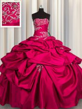 Hot Pink Ball Gowns Appliques and Pick Ups Quince Ball Gowns Lace Up Taffeta Sleeveless Floor Length