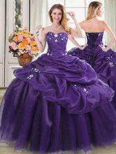 Purple Sleeveless Floor Length Appliques and Pick Ups Lace Up Quinceanera Dress