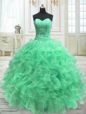 Designer Sweetheart Sleeveless Lace Up Quinceanera Dresses Green Organza