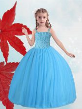 Baby Blue Ball Gowns Straps Sleeveless Taffeta and Tulle Floor Length Lace Up Beading Little Girl Pageant Dress
