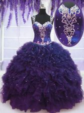 Great Blue Ball Gown Prom Dress Sweet 16 and Quinceanera and Beach with Beading and Ruffles Straps Sleeveless Zipper