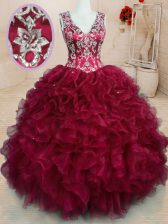 Exceptional Wine Red Ball Gowns Beading and Embroidery and Ruffles Quince Ball Gowns Zipper Organza Sleeveless Floor Length