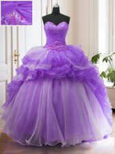 Adorable Lavender Ball Gowns Organza Sweetheart Sleeveless Beading and Ruffled Layers With Train Lace Up Quinceanera Gowns Sweep Train