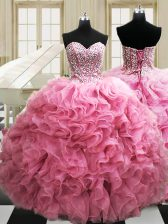 Floor Length Ball Gowns Sleeveless Rose Pink 15th Birthday Dress Lace Up