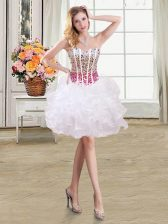 Sleeveless Organza Mini Length Lace Up Prom Gown in White with Beading and Ruffles