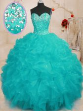 Enchanting Aqua Blue Sweet 16 Dresses Military Ball and Sweet 16 and Quinceanera with Beading and Ruffles Sweetheart Sleeveless Lace Up