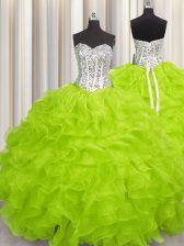 Sleeveless Floor Length Beading and Ruffles Lace Up Quinceanera Dresses with Yellow Green