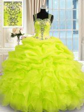 Super Floor Length Yellow Green 15th Birthday Dress Organza Sleeveless Beading and Ruffles