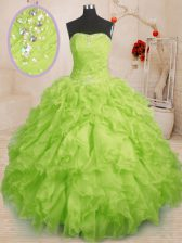 Inexpensive Yellow Green Sleeveless Floor Length Beading and Ruffles and Ruching Lace Up Quinceanera Gown