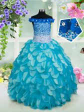 Customized Off the Shoulder Floor Length Turquoise Little Girl Pageant Dress Organza Sleeveless Beading and Sashes ribbons and Sequins