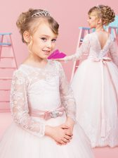 Colorful Scoop Long Sleeves Floor Length Clasp Handle Flower Girl Dresses for Less Baby Pink for Quinceanera and Wedding Party with Lace and Bowknot