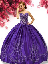 Taffeta Sweetheart Sleeveless Lace Up Embroidery Quinceanera Gown in Purple
