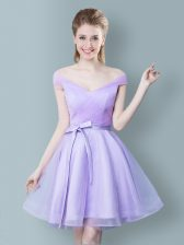 Custom Made Knee Length Lavender Dama Dress for Quinceanera Tulle Cap Sleeves Ruching and Bowknot
