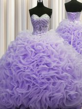 Sumptuous Rolling Flowers Lavender 15th Birthday Dress Military Ball and Sweet 16 and Quinceanera with Beading and Pick Ups Sweetheart Sleeveless Brush Train Lace Up