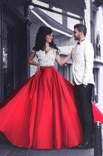 Decent Red Off The Shoulder Neckline Appliques Evening Dress Short Sleeves Zipper