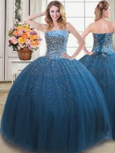 Shining Teal Lace Up 15 Quinceanera Dress Beading Sleeveless Floor Length