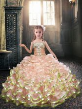 Gorgeous Sleeveless Floor Length Beading and Ruffles Lace Up Flower Girl Dresses with Peach