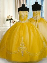 Gold Ball Gowns Strapless Sleeveless Organza Floor Length Lace Up Beading and Embroidery Quinceanera Gowns