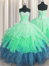 Sleeveless Lace Up Floor Length Beading and Ruffles and Ruffled Layers and Sequins Quinceanera Gowns