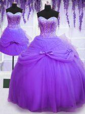 Three Piece Sleeveless Lace Up Floor Length Beading and Bowknot Sweet 16 Dress