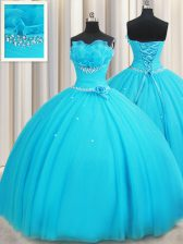 Cute Aqua Blue Ball Gowns Tulle Strapless Sleeveless Beading and Ruffles and Hand Made Flower Floor Length Lace Up 15th Birthday Dress