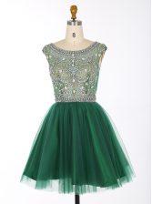 Classical Scoop Sleeveless Chiffon Prom Dress Beading Zipper