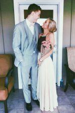 Halter Top Sleeveless Backless Prom Dress White Chiffon