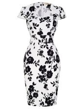 Customized White And Black Prom Dress Prom and Party with Pattern and Belt High-neck Short Sleeves Zipper