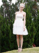 Luxurious Knee Length Empire Sleeveless White Prom Dresses Zipper