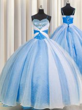 Flare Baby Blue Ball Gowns Chiffon Spaghetti Straps Sleeveless Beading and Sequins and Ruching Floor Length Lace Up Vestidos de Quinceanera