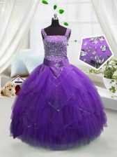 Eye-catching Tulle Sleeveless Floor Length Little Girl Pageant Dress and Beading and Ruffles