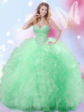 Unique Sweetheart Sleeveless Lace Up Quinceanera Dresses Apple Green Tulle