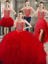 Four Piece Floor Length Lace Up Sweet 16 Dresses Red for Military Ball and Sweet 16 and Quinceanera with Beading and Ruffles