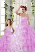 Charming Ball Gowns Sweet 16 Dress Lilac Strapless Organza Sleeveless Floor Length Lace Up