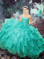 Organza Sleeveless Floor Length Quinceanera Dress and Beading and Ruffled Layers