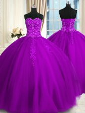 On Sale Appliques and Embroidery Quinceanera Gowns Purple Lace Up Sleeveless Floor Length