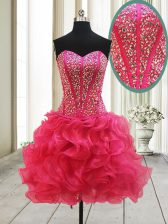 Sleeveless Mini Length Beading Lace Up Prom Evening Gown with Hot Pink
