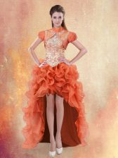 Straps Sleeveless Lace Up Prom Dresses Orange Red Organza