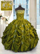 Decent Strapless Sleeveless Quinceanera Dress Floor Length Beading and Appliques and Embroidery and Pick Ups Green Taffeta